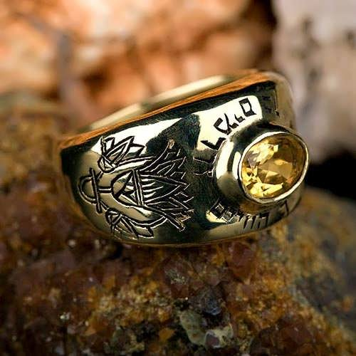 Lotus ring gold with Citrine