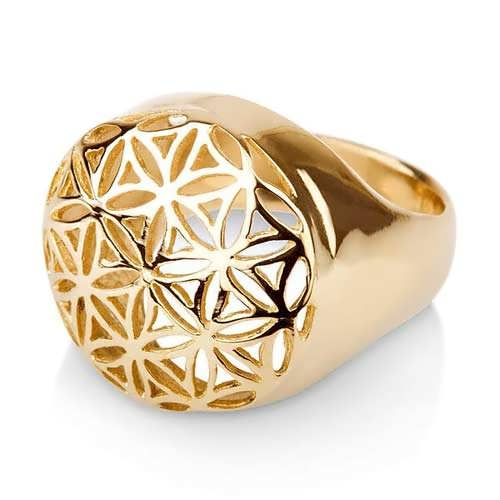 Flower of Life Ring Gold