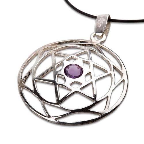 Star of David Mandala silver with Amethyst