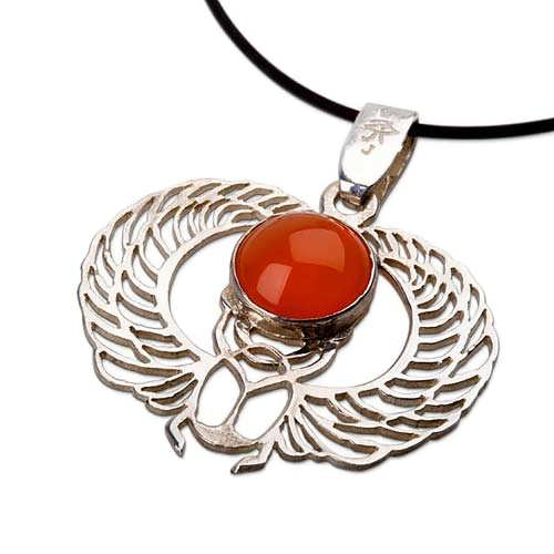 Winged Scarab silver with Carnelian