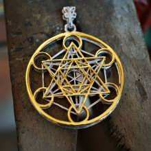 Metatron Würfel 24K Gold and Silver