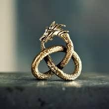 Der Drache - großer Goldanhänger