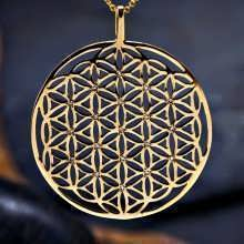 Inlaid Flower of Life Pendant Gold (SOL Pattern)