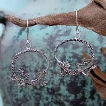 Серьги «Уроборос», серебро