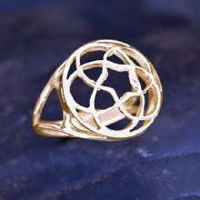Pentagramic Torus Knot Ring Gold