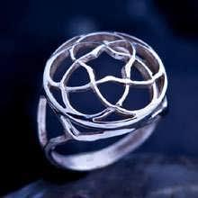Pentagramic Torus Knot Ring Silver