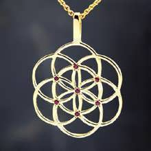 Seed of Life Pendant Gold With Gemstones
