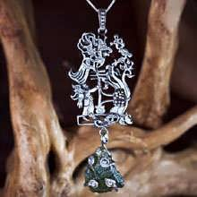 Star Children Pendant Silver (with Genuine Moldavite)