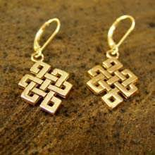 Tibetan Knot Earrings Gold