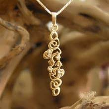 Water Element Pendant Gold Small with Diamonds