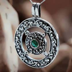 A silver Norse Amulet set with my favorite stonr-EMERALD.