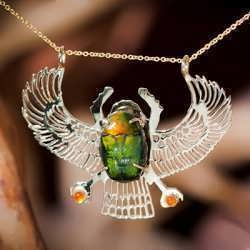 14 k Gold Winged Scarab Set with Carnelian