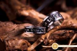 "Two ""Diligo ergo Sum"" rings that were created for a couple in Australia"