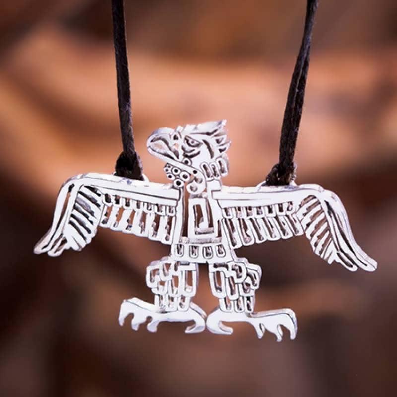 A silver Native American Eagle pendant