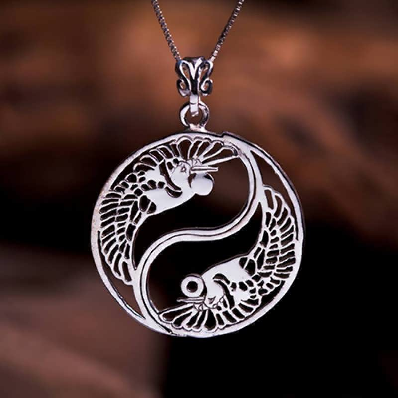 A silver Yin Yang cranes pendant. One of my favorite designs....