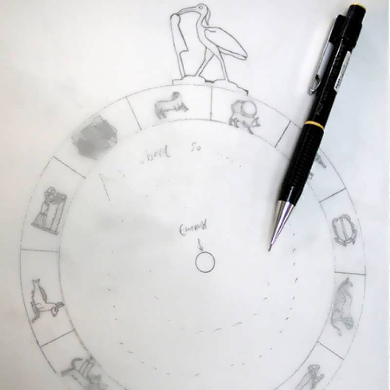A sketch for the Emerald Tablet pendant....