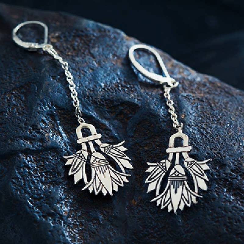 Silver Egyptian Lotus Earrings