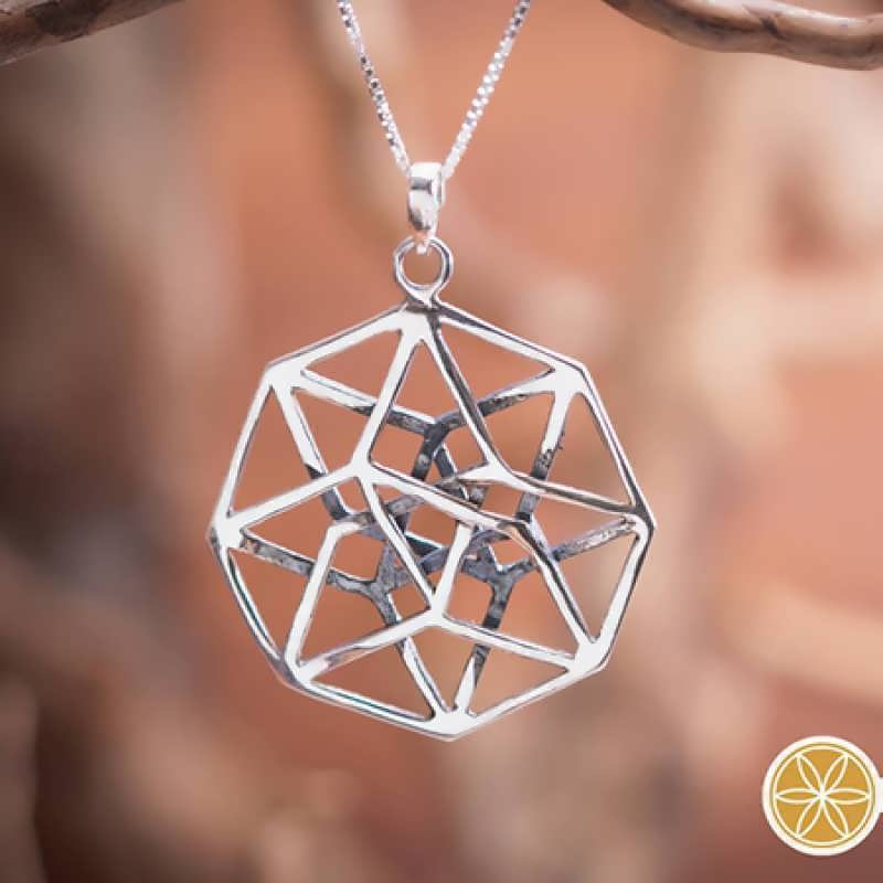 A silver Tesseract pendant. A journey to the 4th dimension.