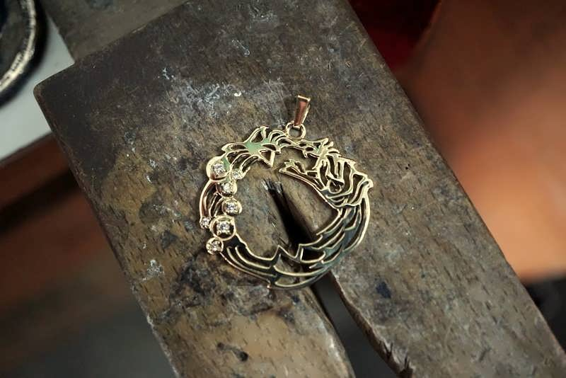 Ouroboros Pendant Gold With Diamonds Powerful Symbol of Renewal, Creativity and Endless Change
