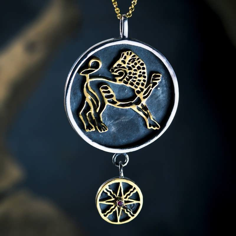 Sun in Leo Talisman Pendant Silver and Gold -15% discount for the last pieces until April the 10th