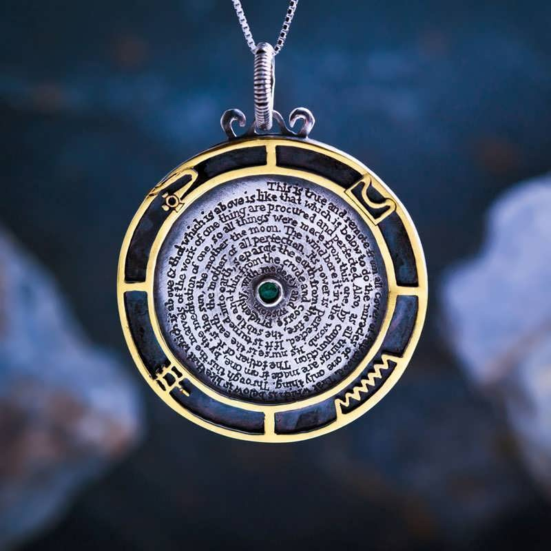 The Emerald Tablet Talisman Silver and Gold