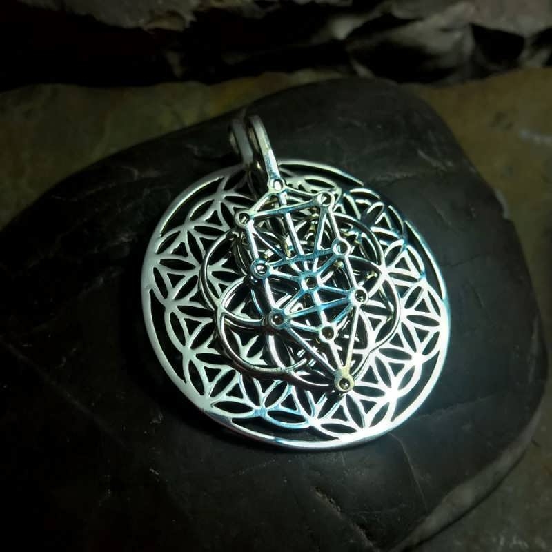 Tree of life on top of seed of life on top of flower of life