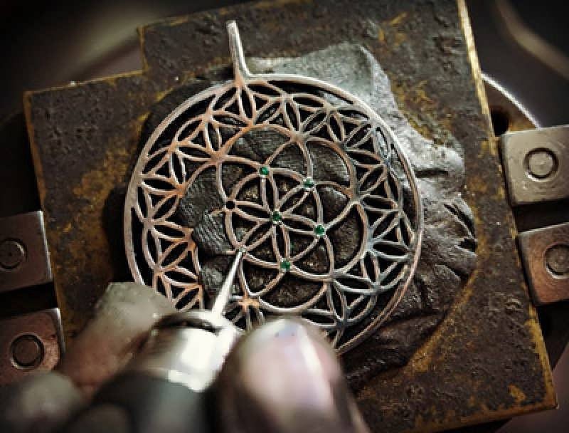 Working on the New Inlaid Flower and Seed of life