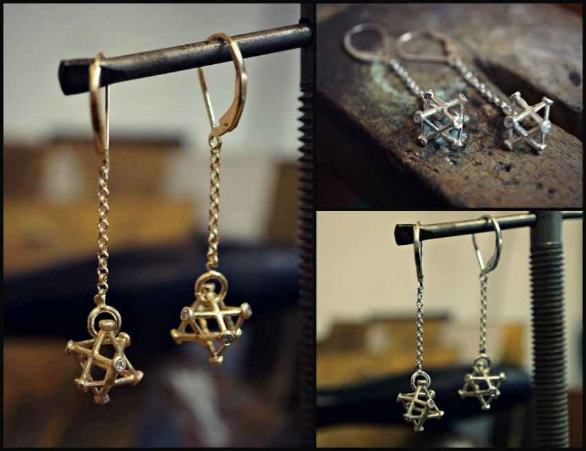 New Small Inlaid Merkaba Earrings