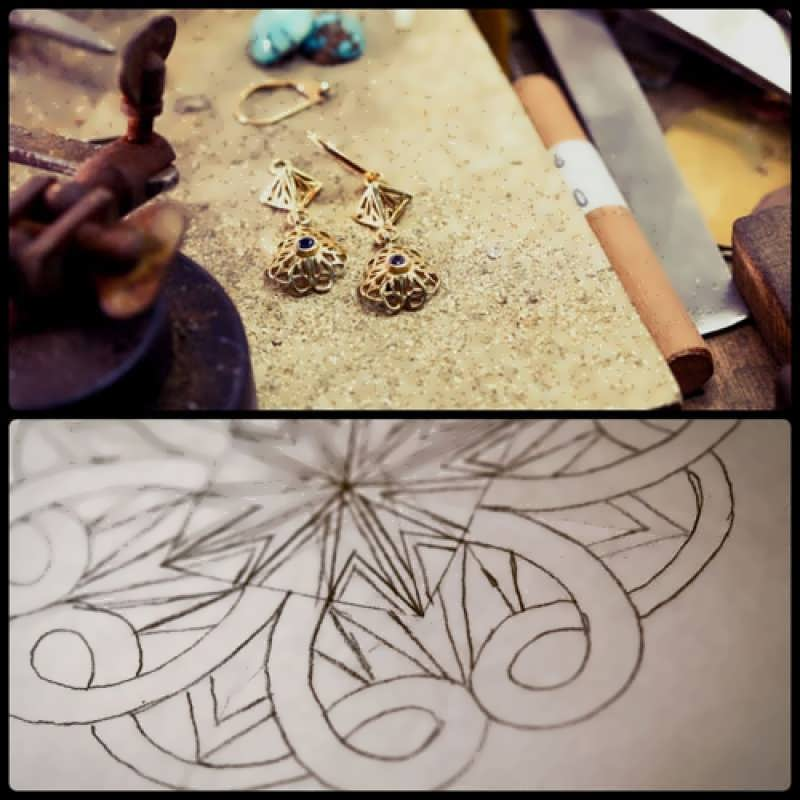 Working on the New Nefertiti Lotus Earrings