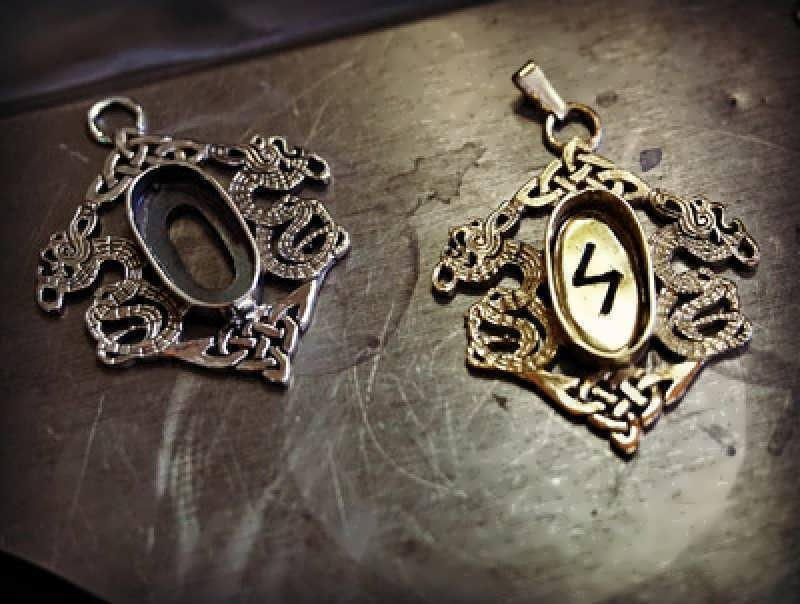 Working on these gold and silver Rune pendant