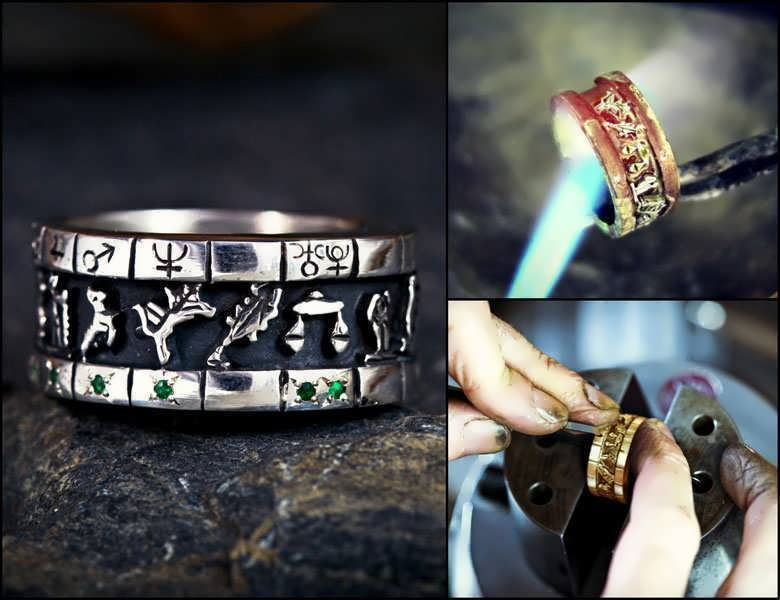 Personalized cosmic sigil talisman ring