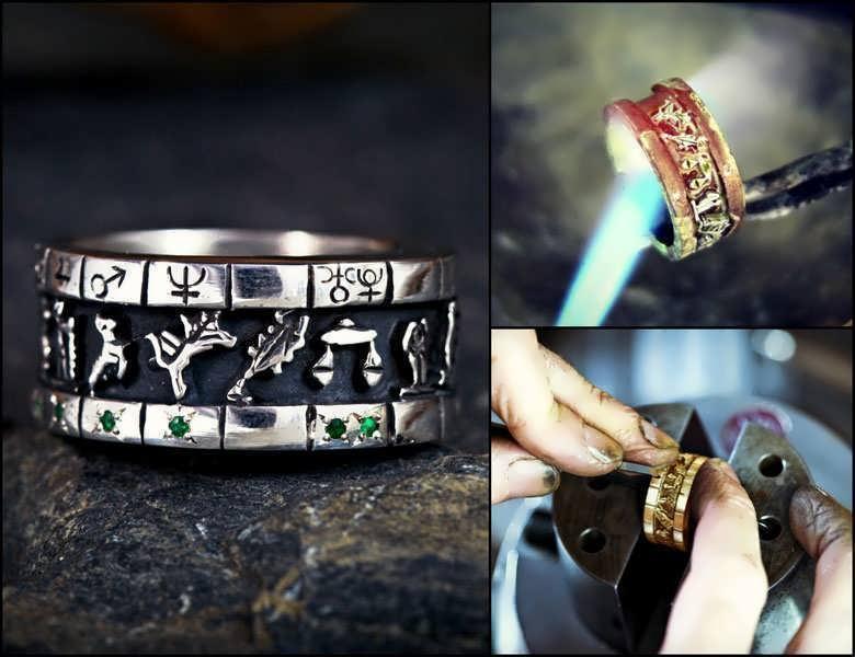 Personalized cosmic sigil talisman ring