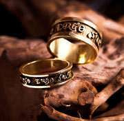 Diligo Ergo Sum ring gold (narrow) 412