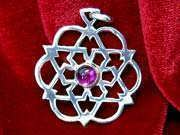 Inlaid egg of life star silver with Amethyst 185