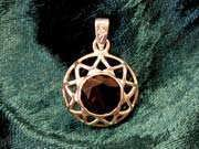Inlaid Enneagram gold with Smoky Quartz 178