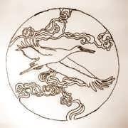 Кулон «Японский аист», золото 581