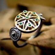 Ka Ring Gold and Silver with Gemstones with Emerald 672