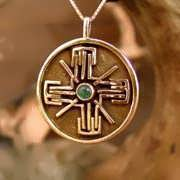 Light-Bliss Pendant Gold with Emerald