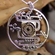 Mayan World Tree Pendant Silver and Gold 701