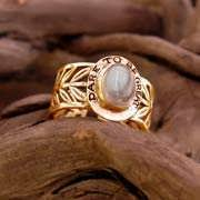 Inlaid Victory Ring Gold with Moonstone 592