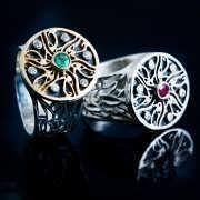 טבעת העין של הורוס מלכותית כסף וזהב 817