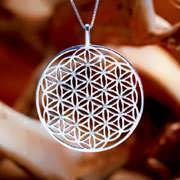 Inlaid Flower of Life Pendant Silver (SOL Pattern) 443