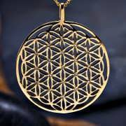 Inlaid Flower of Life Pendant Gold (SOL Pattern) 433