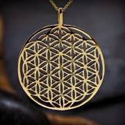 Inlaid Flower of Life Pendant Gold (TOL Pattern) 827