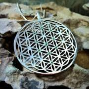 Inlaid Flower of Life Pendant Silver (TOL Pattern) 826