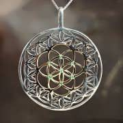 Inlaid Flower and Seed of Life Silver and Gold 834