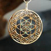 Inlaid Flower and Seed of Life Gold 833
