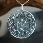 Inlaid Flower and Seed of Life Silver 832