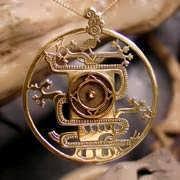 Mayan World Tree Pendant Gold 702