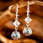 Nefertiti Lotus Earrings Silver 821